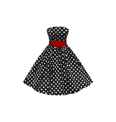 Black dress with white polka dots vector