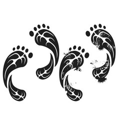 Black grunge carbon eco footprints vector