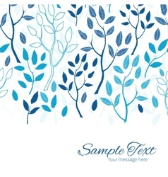 Blue forest horizontal border card template vector