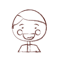 Blurred contour shading smile expression cartoon vector