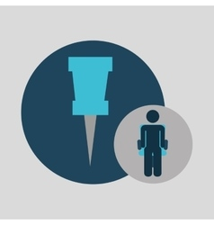 Business silhouette man pin map vector
