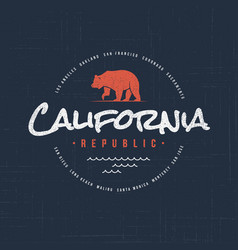 california republic t-shirt and apparel design vector image