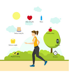 cartoon jogging girl infographics vector image