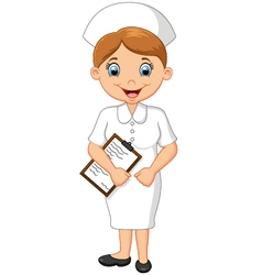 Cartoon smiling nurse holding clipboard vector image