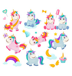cartoon unicorn cute funny fairytale characters vector image