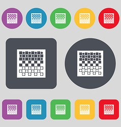 Checkers board icon sign A set of 12 colored vector