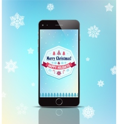 Christmas gift phone poster card with vector