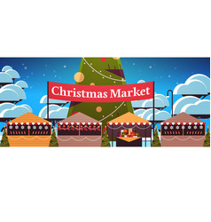 christmas market or holiday outdoor fair with vector image