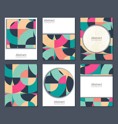 collection of six cards with colorful vector image