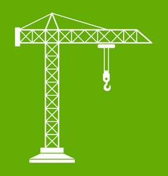 construction crane icon green vector image