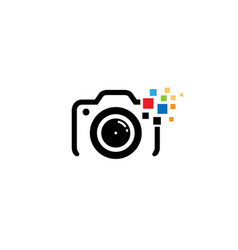 Creative black camera colorful pixel logo design vector