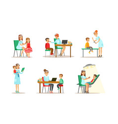 doctor doing medical examination kids set boys vector image