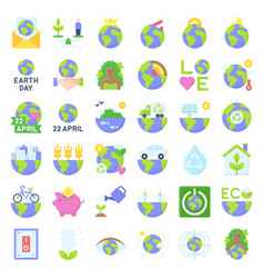 earth day related icon set 3 flat style vector image
