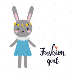 fashion girl cute little bunny romantic card vector image