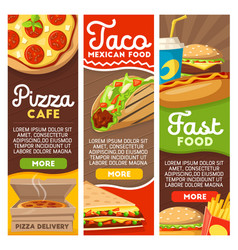Fast food pizza and mexican tacos delivery menu vector
