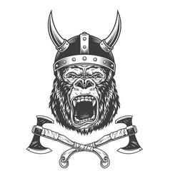 ferocious gorilla head in viking helmet vector image
