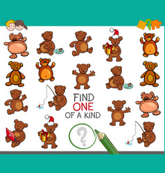 Find one of a kind activity with bears vector