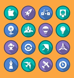 Flat icons of creativity and imagination vector image