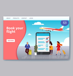 flight travelling landing mobile app web page for vector image