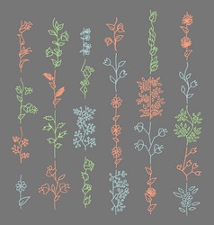 floral elements for brushes flowers and leaves vector image