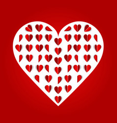 folded paper hearts red hearts valentines day vector image