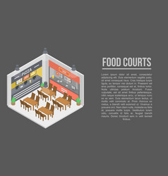 Food courts concept banner isometric style vector