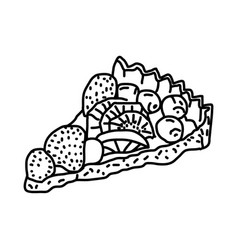 French fruit tart icon doodle hand drawn or vector