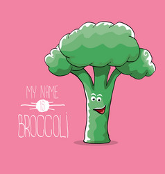 funny cartoon cute green smiling broccoli vector image