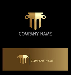 Gold law firm building logo vector