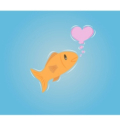 Goldenfish with bubble heart vector