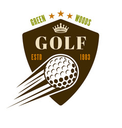 Golf shield vintage emblem with flying ball vector