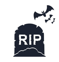 Gravestone with bats vector