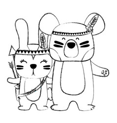 Grunge rabbit and bear animals with feathers vector