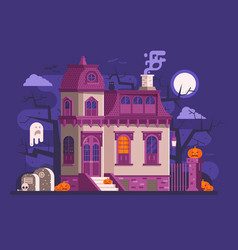 Halloween haunted house scene vector