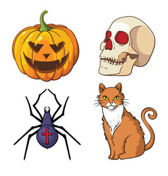 halloween icons set pumpkin skull spider red cat vector image