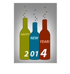 Happy new year bottles vector image