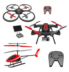 helicopter and quadrocopter quadcopter vector image