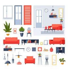 House interior design living room furniture vector