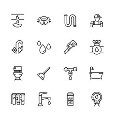 icon set repair and plumbing contains vector image