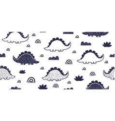 kids dino pattern as outline ink kids drawing vector image
