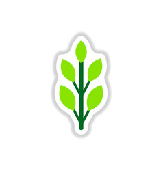 Label with leaf shadow icon design collection vector