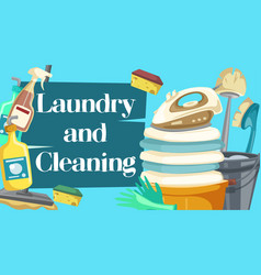 Laundry and cleaning housekeeping chores vector