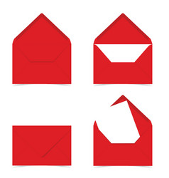 Letter envelope in red color on white vector