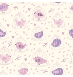 Lovely seamless pattern with cute birds and tree vector image