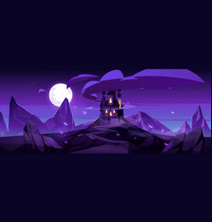 magic castle at night on mountain fairytale palace vector image
