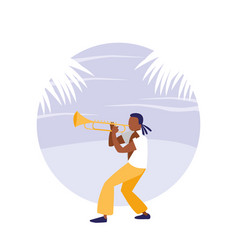 man playing trumpet avatar character vector image