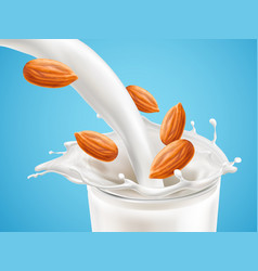 Milk plashing effect with liquid pouring down vector