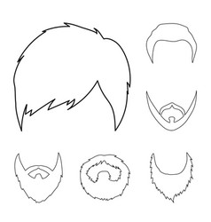 mustache and beard hairstyles outline icons in vector image