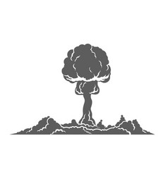 nuclear explosion silhouette concept vector image