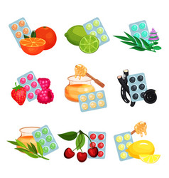 package of lozenges set flavored different tastes vector image
